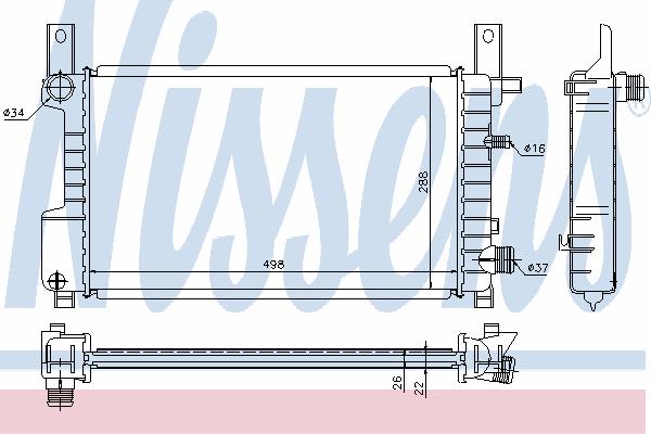 Радиатор, охлаждение двигателя NISSENS 62076A