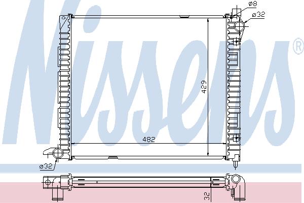 Радиатор, охлаждение двигателя NISSENS 64300A