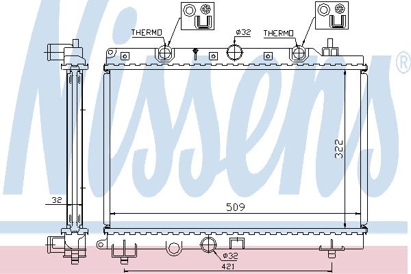 Радиатор, охлаждение двигателя NISSENS 64304A