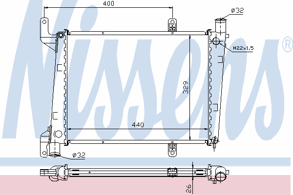 Радиатор, охлаждение двигателя NISSENS 65561A