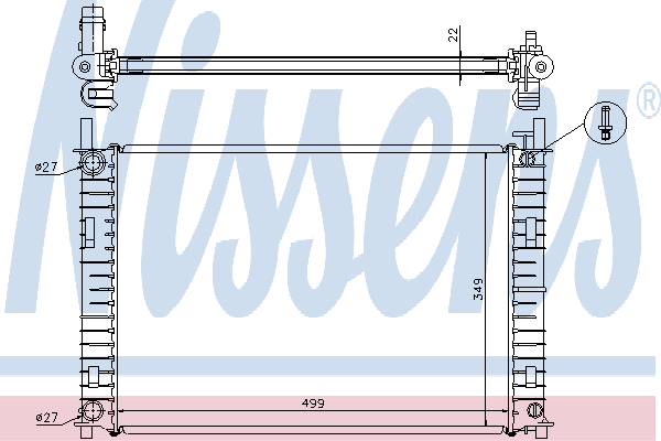 Радиатор, охлаждение двигателя NISSENS 62027A