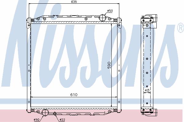 Радиатор, охлаждение двигателя NISSENS 62880A