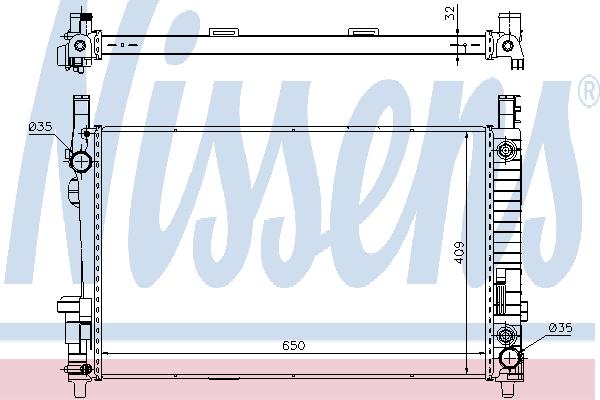 Радиатор, охлаждение двигателя NISSENS 62799A