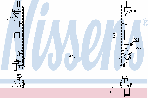 Радиатор, охлаждение двигателя NISSENS 62052