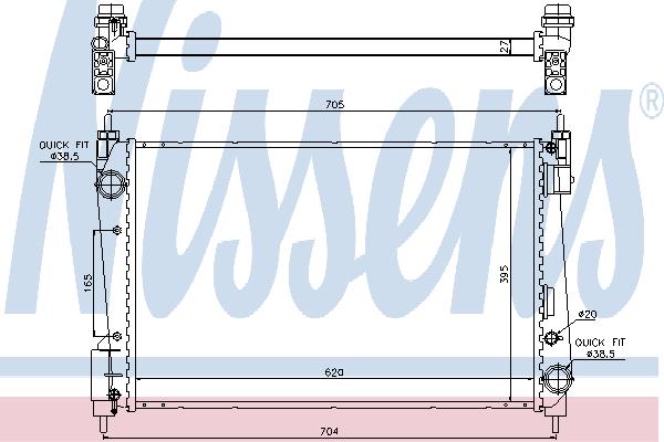 Радиатор, охлаждение двигателя NISSENS 61915