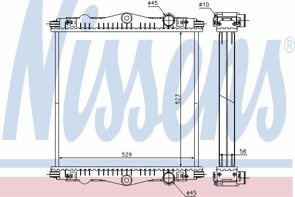 Радиатор, охлаждение двигателя NISSENS 614450