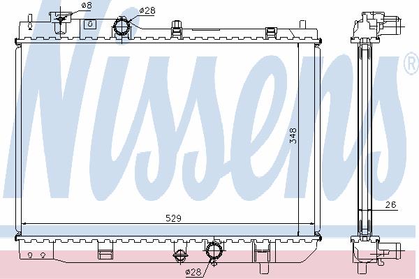Радиатор, охлаждение двигателя NISSENS 62431A