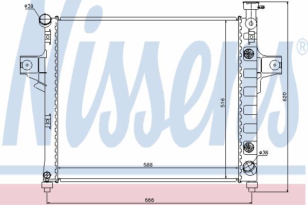Радиатор, охлаждение двигателя NISSENS 61023