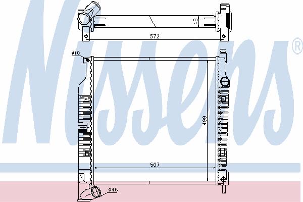Радиатор, охлаждение двигателя NISSENS 61021A