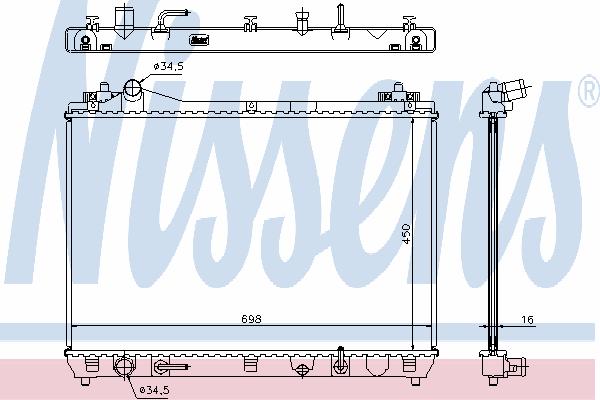 Радиатор, охлаждение двигателя NISSENS 64199