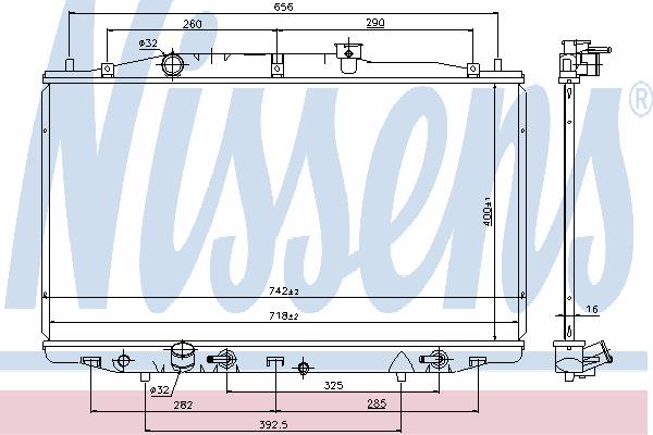 Радиатор, охлаждение двигателя NISSENS 69475
