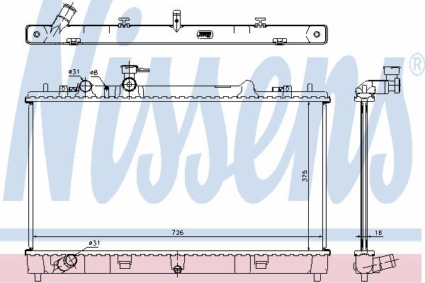 Радиатор, охлаждение двигателя NISSENS 68507