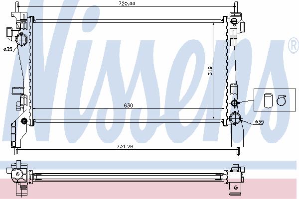 Радиатор, охлаждение двигателя NISSENS 636004