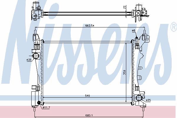 Радиатор, охлаждение двигателя NISSENS 636005