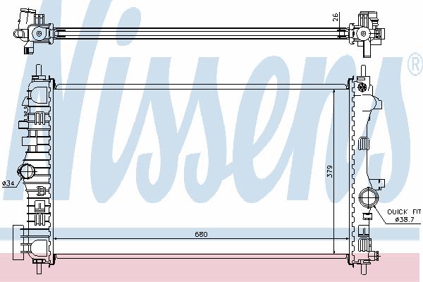 Радиатор, охлаждение двигателя NISSENS 630716