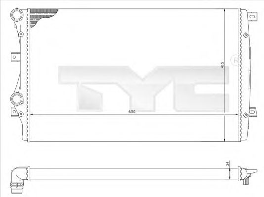 Радиатор, охлаждение двигателя TYC 737-0017-R