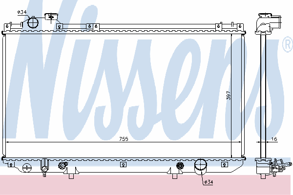 Радиатор, охлаждение двигателя NISSENS 64759