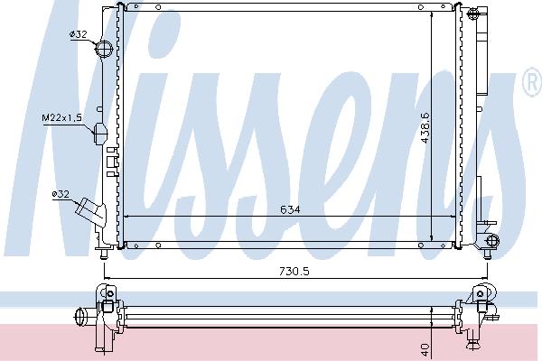 Радиатор, охлаждение двигателя NISSENS 63851A