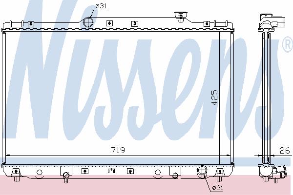 Радиатор, охлаждение двигателя NISSENS 64769A