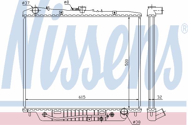 Радиатор, охлаждение двигателя NISSENS 60852