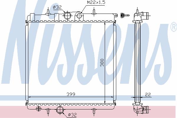 Радиатор, охлаждение двигателя NISSENS 63708A