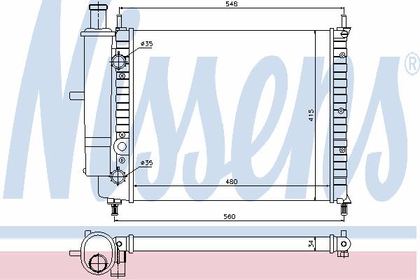 Радиатор, охлаждение двигателя NISSENS 61788