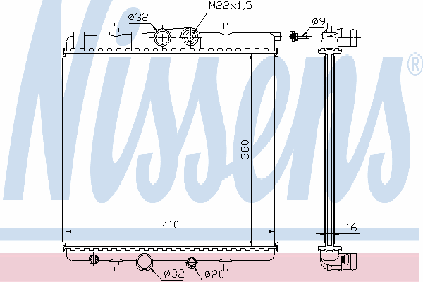 Радиатор, охлаждение двигателя NISSENS 63691