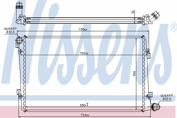 Радиатор, охлаждение двигателя NISSENS 65292