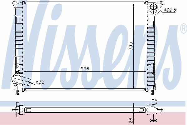 Радиатор, охлаждение двигателя NISSENS 69703A