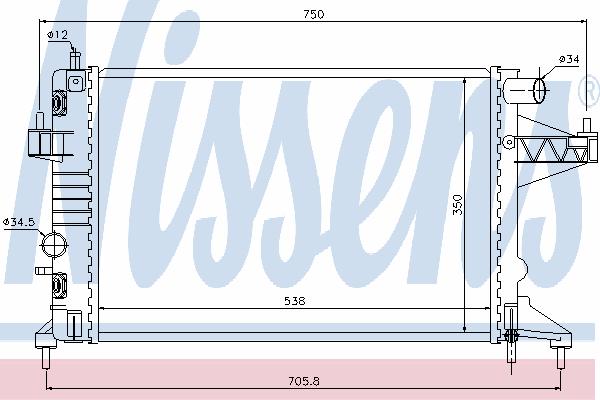 Радиатор, охлаждение двигателя NISSENS 63018