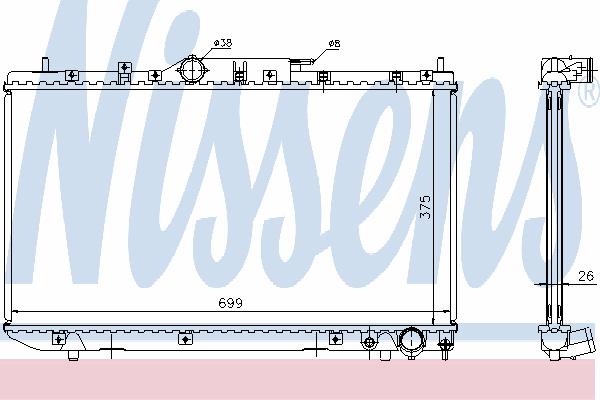 Радиатор, охлаждение двигателя NISSENS 64643A
