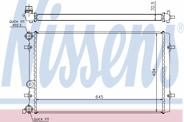 Радиатор, охлаждение двигателя NISSENS 65011