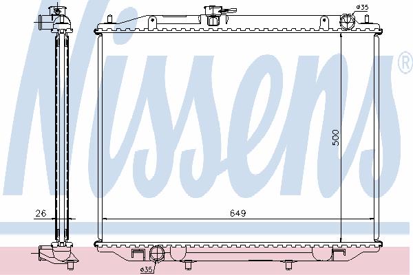 Радиатор, охлаждение двигателя NISSENS 68708A