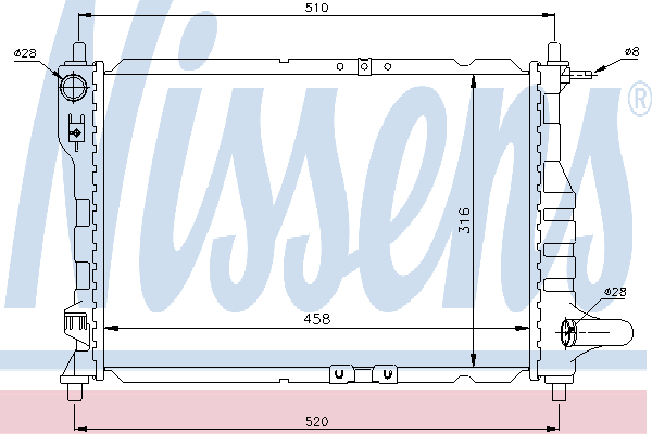 Радиатор, охлаждение двигателя NISSENS 61630