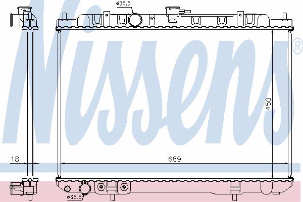 Радиатор, охлаждение двигателя NISSENS 68704