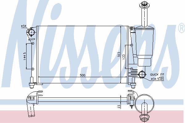 Радиатор, охлаждение двигателя NISSENS 617853