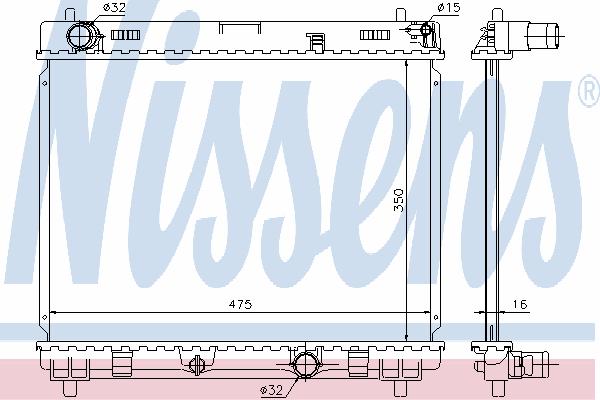 Радиатор, охлаждение двигателя NISSENS 64697