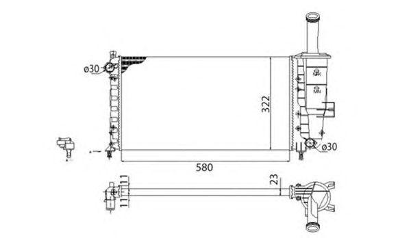 Радиатор, охлаждение двигателя MAGNETI MARELLI 350213173003