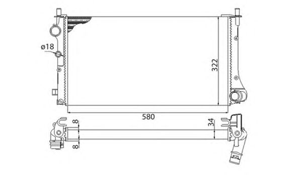 Радиатор, охлаждение двигателя MAGNETI MARELLI 350213383003