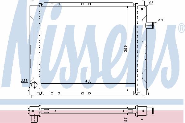 Радиатор, охлаждение двигателя NISSENS 640281