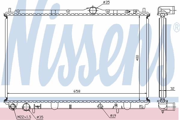 Радиатор, охлаждение двигателя NISSENS 62858A