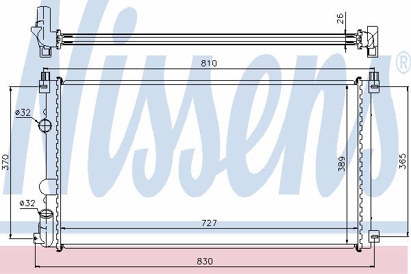 Радиатор, охлаждение двигателя NISSENS 63824A