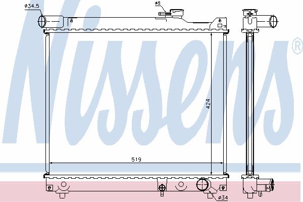 Радиатор, охлаждение двигателя NISSENS 64165