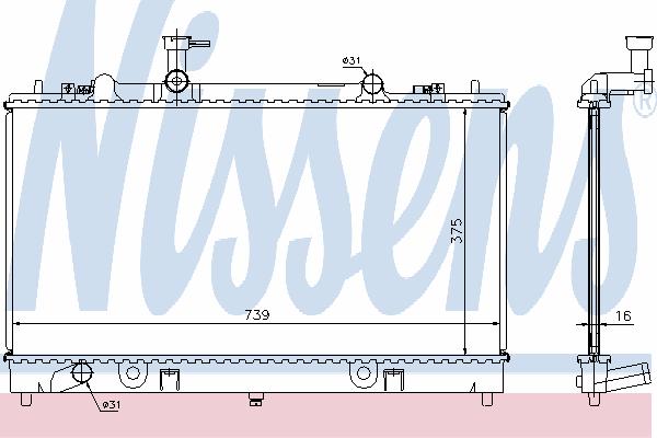 Радиатор, охлаждение двигателя NISSENS 62466A