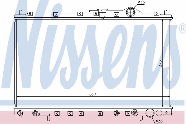 Радиатор, охлаждение двигателя NISSENS 62887