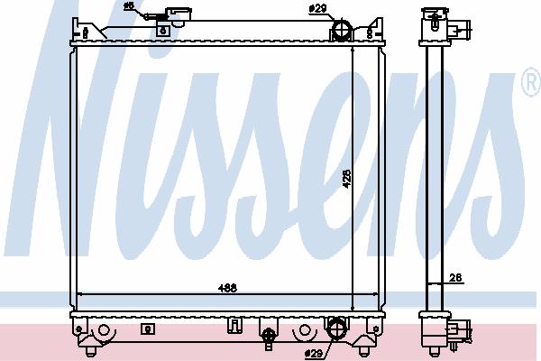 Радиатор, охлаждение двигателя NISSENS 64155