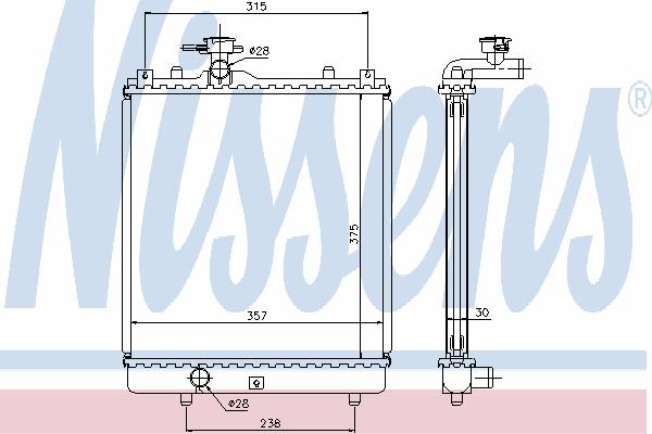 Радиатор, охлаждение двигателя NISSENS 64195