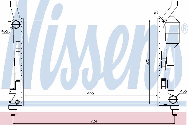 Радиатор, охлаждение двигателя NISSENS 67106