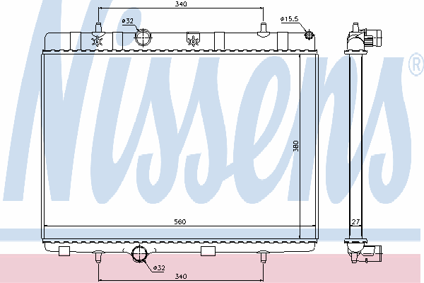 Радиатор, охлаждение двигателя NISSENS 636007