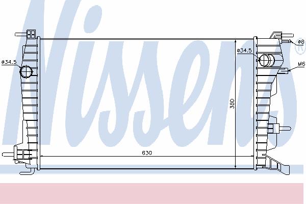 Радиатор, охлаждение двигателя NISSENS 637616